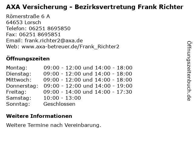AXA Versicherung - Bezirksvertretung Frank Richter in Lorsch: Adresse und Öffnungszeiten