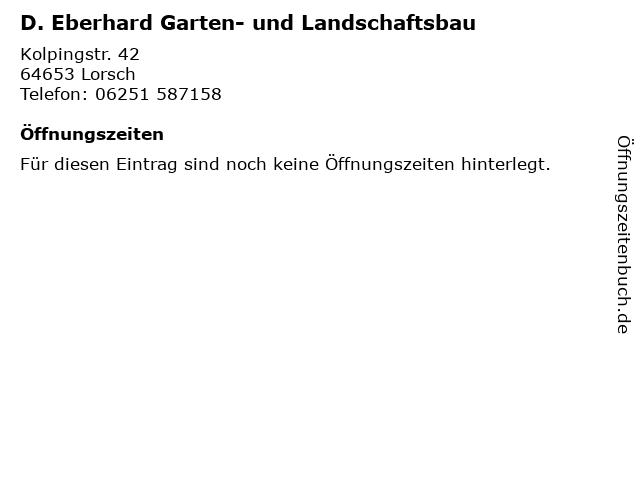 D. Eberhard Garten- und Landschaftsbau in Lorsch: Adresse und Öffnungszeiten