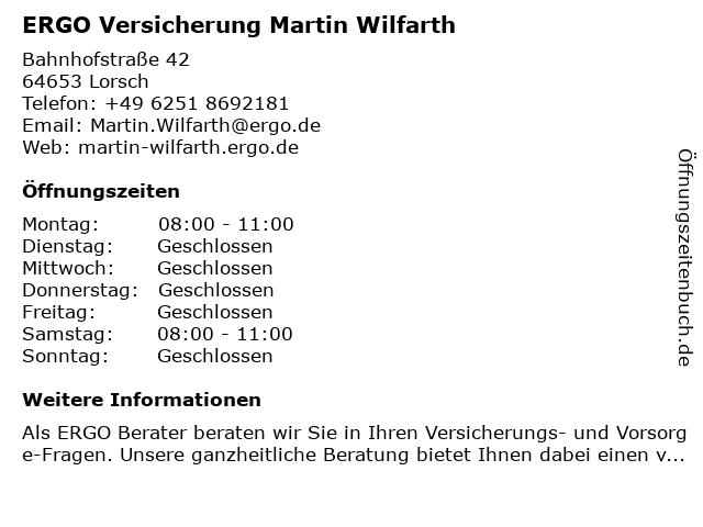 ERGO Versicherung Martin Wilfarth in Lorsch: Adresse und Öffnungszeiten