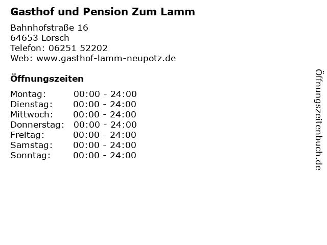 Gasthof und Pension Zum Lamm in Lorsch: Adresse und Öffnungszeiten