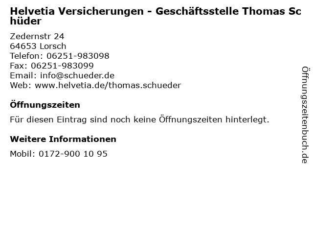 Helvetia Versicherungen - Geschäftsstelle Thomas Schüder in Lorsch: Adresse und Öffnungszeiten