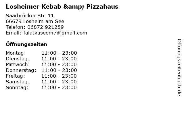 Losheimer Kebab & Pizzahaus in Losheim am See: Adresse und Öffnungszeiten