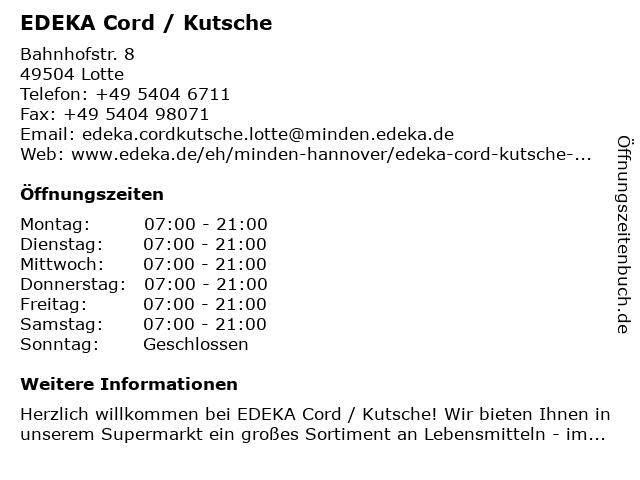 EDEKA Cord / Kutsche in Lotte: Adresse und Öffnungszeiten