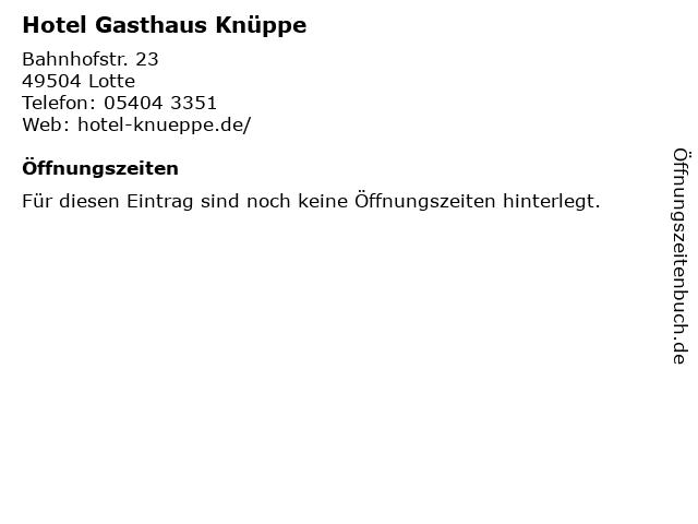 Hotel Gasthaus Knüppe in Lotte: Adresse und Öffnungszeiten