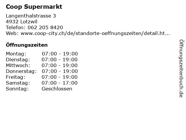Coop Supermarkt in Lotzwil: Adresse und Öffnungszeiten