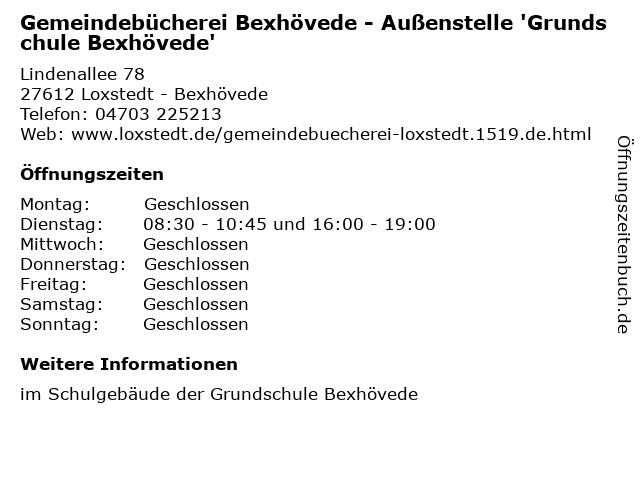 Gemeindebücherei Bexhövede - Außenstelle 'Grundschule Bexhövede' in Loxstedt - Bexhövede: Adresse und Öffnungszeiten
