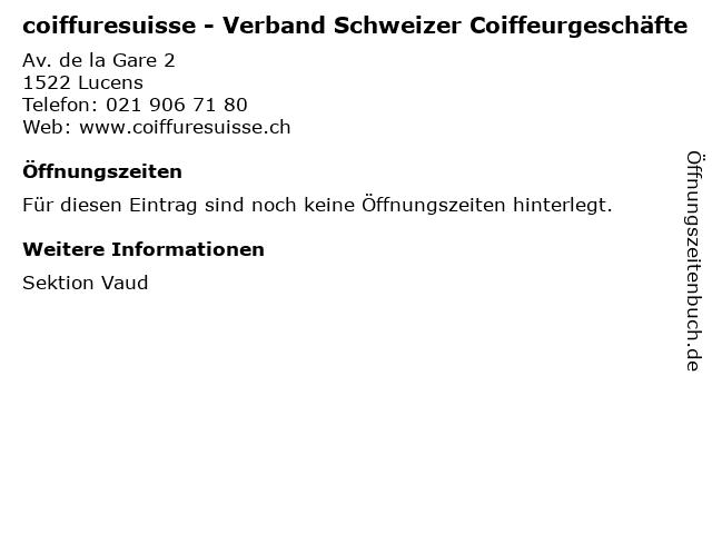 coiffuresuisse - Verband Schweizer Coiffeurgeschäfte in Lucens: Adresse und Öffnungszeiten