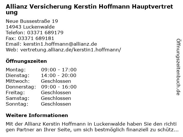 Allianz Vertretung Kerstin Hoffmann in Luckenwalde: Adresse und Öffnungszeiten