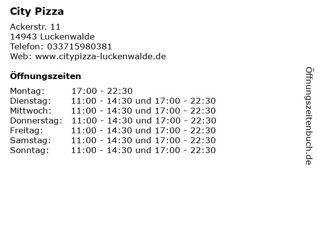 City Pizza in Luckenwalde: Adresse und Öffnungszeiten