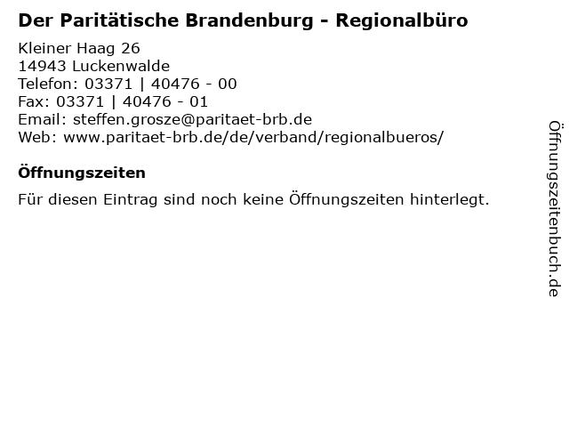 Der Paritätische Brandenburg - Regionalbüro in Luckenwalde: Adresse und Öffnungszeiten