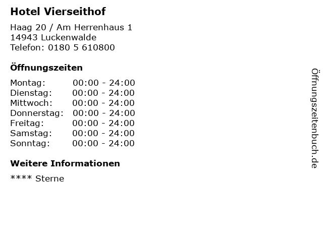 Hotel Vierseithof in Luckenwalde: Adresse und Öffnungszeiten