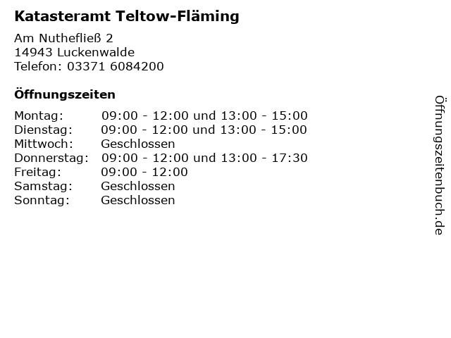 Katasteramt Teltow-Fläming in Luckenwalde: Adresse und Öffnungszeiten