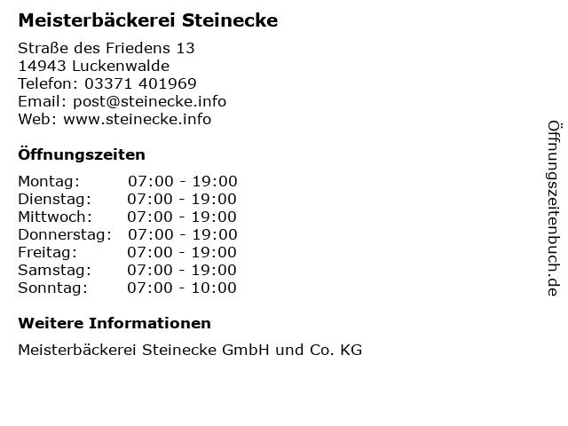 Meisterbäckerei Steinecke in Luckenwalde: Adresse und Öffnungszeiten