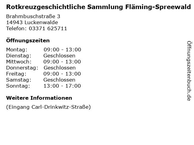 Rotkreuzgeschichtliche Sammlung Fläming-Spreewald in Luckenwalde: Adresse und Öffnungszeiten