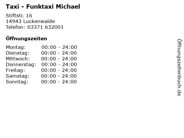 Taxi - Funktaxi Michael in Luckenwalde: Adresse und Öffnungszeiten