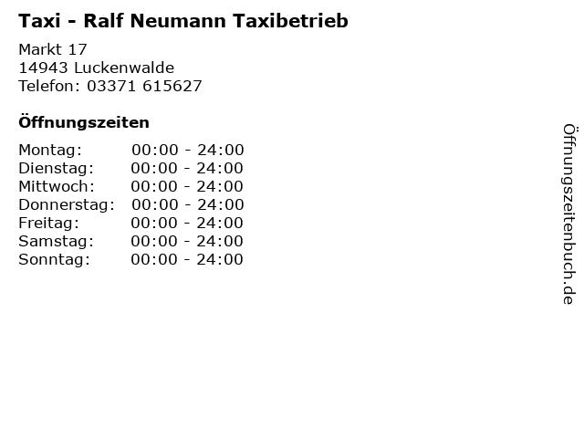 Taxi - Ralf Neumann Taxibetrieb in Luckenwalde: Adresse und Öffnungszeiten
