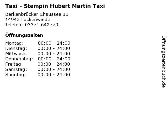 Taxi - Stempin Hubert Martin Taxi in Luckenwalde: Adresse und Öffnungszeiten