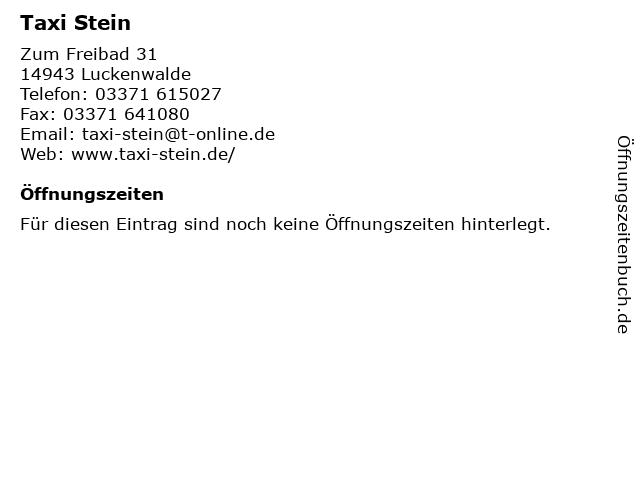 Taxi Stein in Luckenwalde: Adresse und Öffnungszeiten