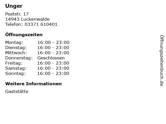 Unger in Luckenwalde: Adresse und Öffnungszeiten