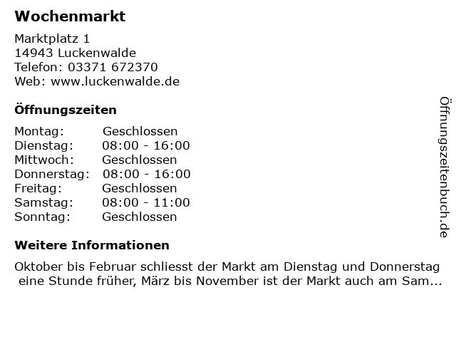 Wochenmarkt in Luckenwalde: Adresse und Öffnungszeiten