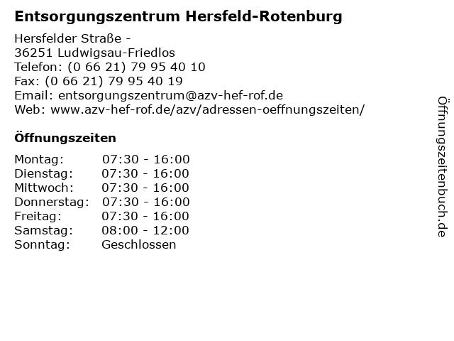 Entsorgungszentrum Hersfeld-Rotenburg in Ludwigsau-Friedlos: Adresse und Öffnungszeiten