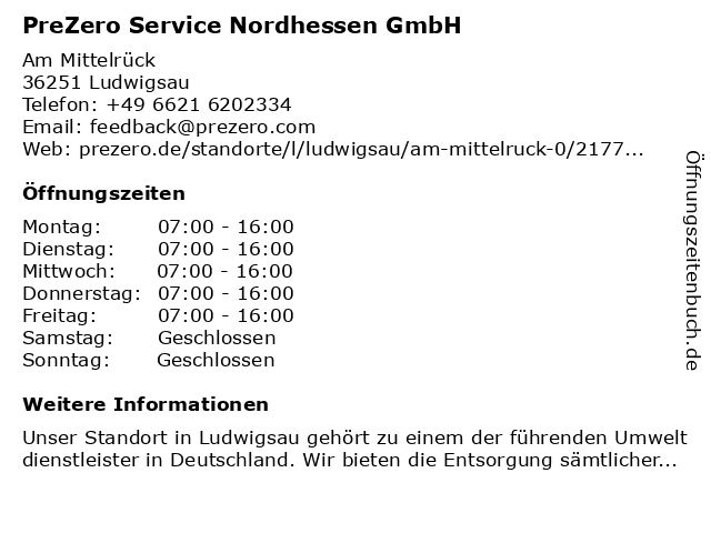 PreZero Service Hessen GmbH in Ludwigsau: Adresse und Öffnungszeiten