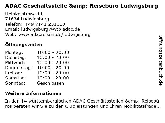 ADAC Geschäftsstelle & Reisebüro Ludwigsburg in Ludwigsburg: Adresse und Öffnungszeiten
