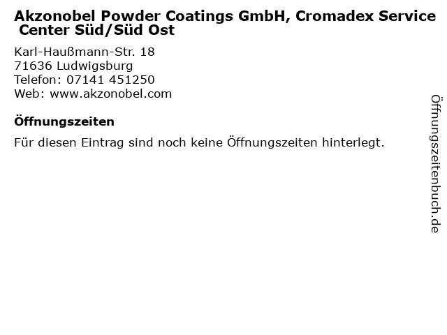 Akzonobel Powder Coatings GmbH, Cromadex Service Center Süd/Süd Ost in Ludwigsburg: Adresse und Öffnungszeiten