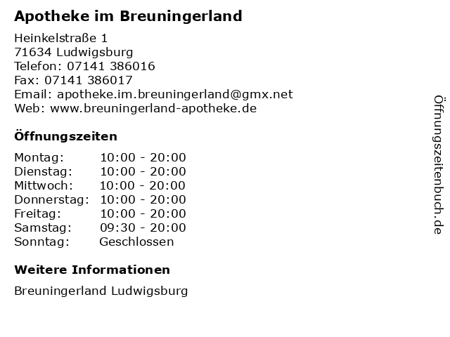 Apotheke im Breuningerland in Ludwigsburg: Adresse und Öffnungszeiten