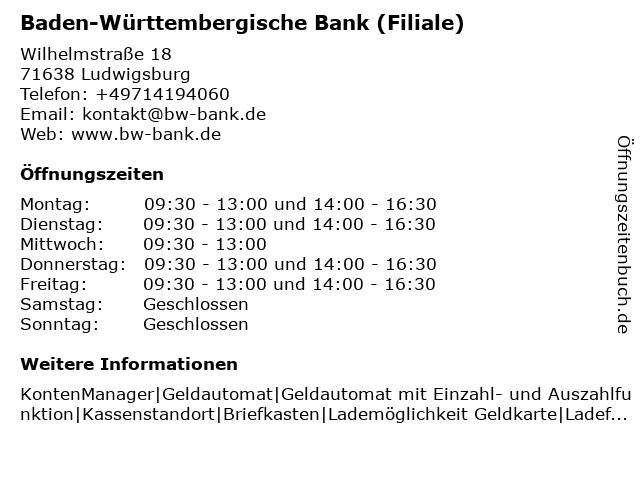 Baden-Württembergische Bank in Ludwigsburg: Adresse und Öffnungszeiten