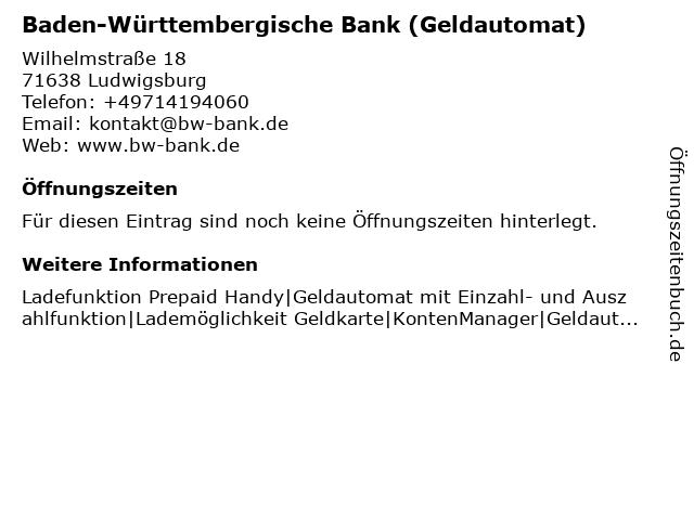 Baden-Württembergische Bank (Geldautomat) in Ludwigsburg: Adresse und Öffnungszeiten