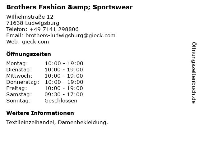 Brothers Fashion & Sportswear in Ludwigsburg: Adresse und Öffnungszeiten