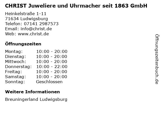 CHRIST Juweliere und Uhrmacher seit 1863 GmbH in Ludwigsburg: Adresse und Öffnungszeiten