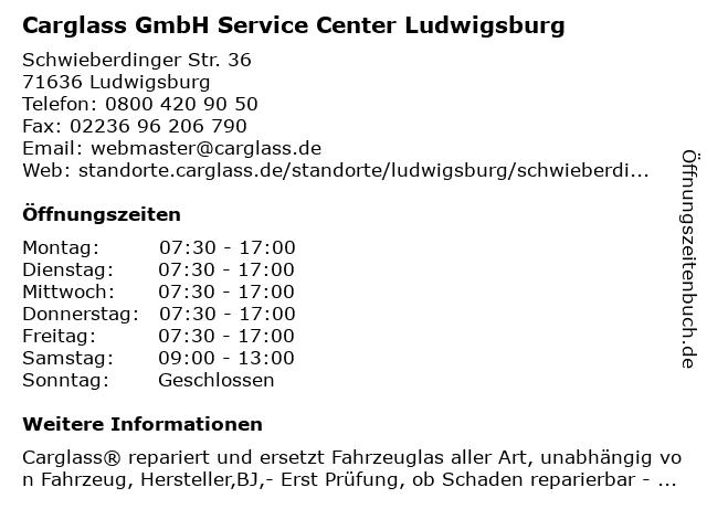 Carglass GmbH Service Center Ludwigsburg in Ludwigsburg: Adresse und Öffnungszeiten