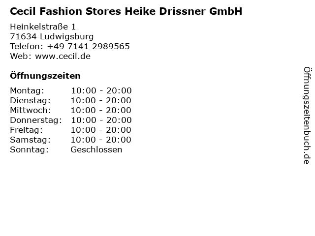 Cecil Fashion Stores Heike Drissner GmbH in Ludwigsburg: Adresse und Öffnungszeiten