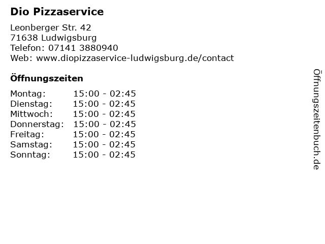 Dio Pizzaservice in Ludwigsburg: Adresse und Öffnungszeiten