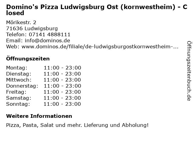 Domino's Pizza Ludwigsburg Ost (kornwestheim) in Ludwigsburg: Adresse und Öffnungszeiten
