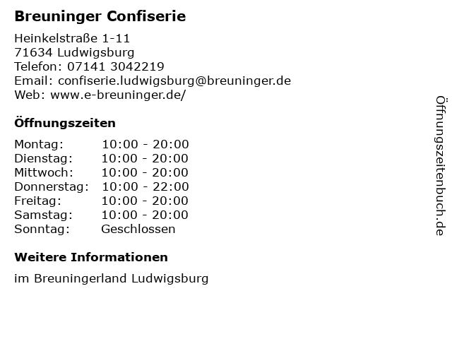 E. Breuninger GmbH & Co. Confiserie in Ludwigsburg: Adresse und Öffnungszeiten