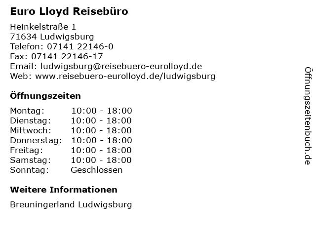Euro Lloyd Reisebüro in Ludwigsburg: Adresse und Öffnungszeiten