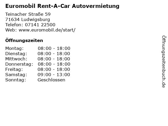 Euromobil Rent-A-Car Autovermietung in Ludwigsburg: Adresse und Öffnungszeiten