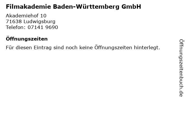 Filmakademie Baden-Württemberg GmbH in Ludwigsburg: Adresse und Öffnungszeiten