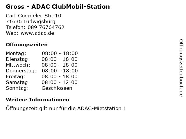 Gross - ADAC ClubMobil-Station in Ludwigsburg: Adresse und Öffnungszeiten