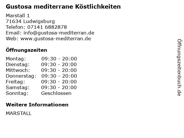 Gustosa mediterrane Köstlichkeiten in Ludwigsburg: Adresse und Öffnungszeiten