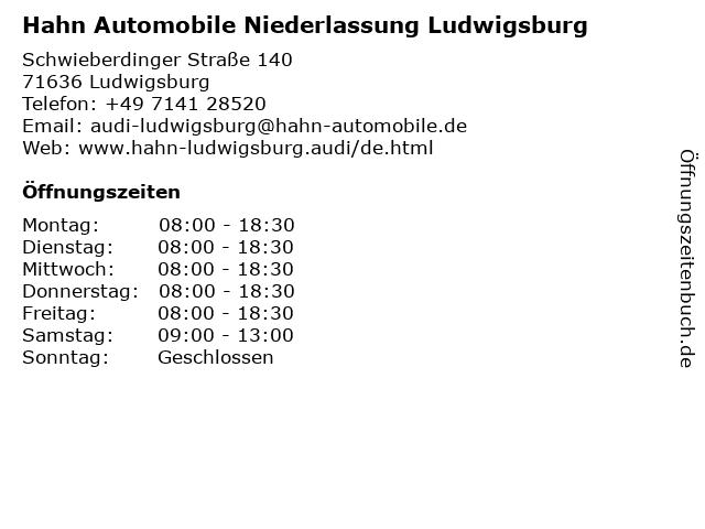Hahn Automobile Niederlassung Ludwigsburg in Ludwigsburg: Adresse und Öffnungszeiten
