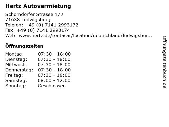 Hertz Autovermietung in Ludwigsburg: Adresse und Öffnungszeiten