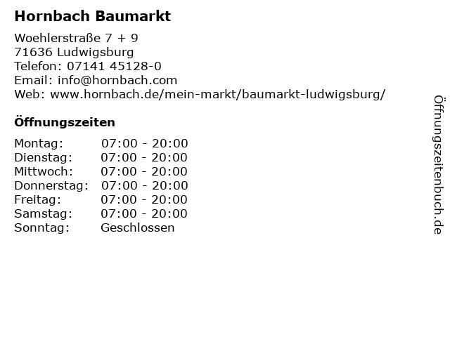 Hornbach Baumarkt in Ludwigsburg: Adresse und Öffnungszeiten