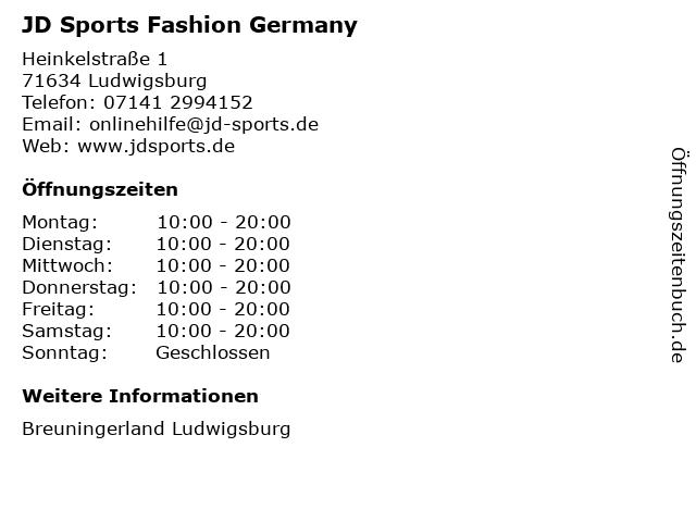 JD Sports Fashion Germany in Ludwigsburg: Adresse und Öffnungszeiten