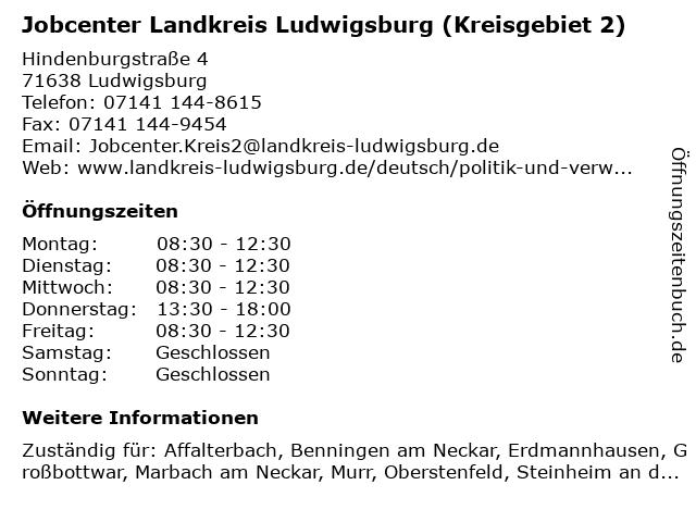 Jobcenter Landkreis Ludwigsburg (Kreisgebiet 2) in Ludwigsburg: Adresse und Öffnungszeiten