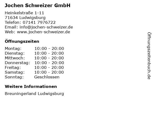 Jochen Schweizer GmbH in Ludwigsburg: Adresse und Öffnungszeiten