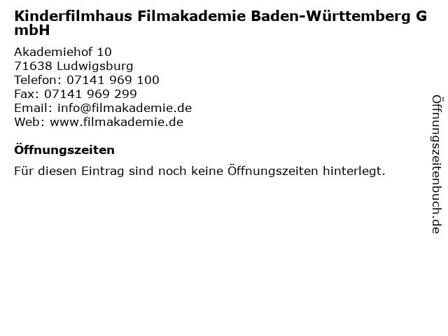 Kinderfilmhaus Filmakademie Baden-Württemberg GmbH in Ludwigsburg: Adresse und Öffnungszeiten